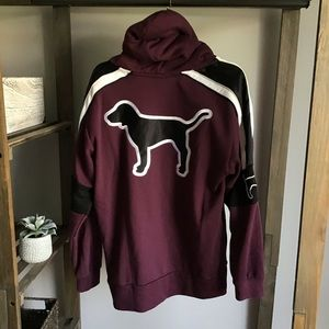Victoria Secret PINK Maroon Fur Hood Sweatshirt